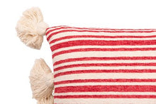 "Load image into Gallery viewer, 36""L x 16""H Cotton & Chenille Woven Striped Lumbar Pillow w/ Tassels, Red"