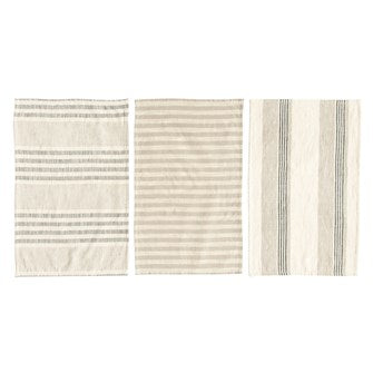 Woven Cotton Striped Tea Towels - Set of 3