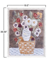 "Load image into Gallery viewer, 19-1/2 x 20-1/4""H Wood Framed Wall Decor w/ Flowers in Vase"