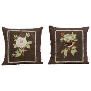 Woven Cotton Pillow with Applique & Embroidery