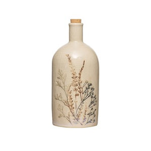 "3-1/2"" Round x 8-3/4""H 24 oz. Stoneware Debossed Floral Bottle w/ Cork Stopper, Crackle Glaze"