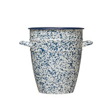 "Load image into Gallery viewer, 7-3/4"" Round x 9""H Splatterware Crock w/ Handles, Blue"