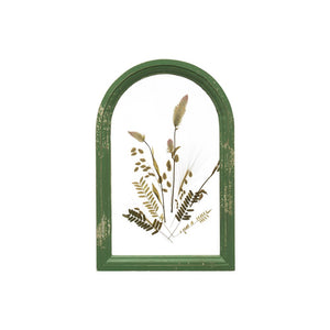"9""W x 13-3/4""H Wood & Glass Wall Decor w/ Dried Florals, Distressed Green (Each One Will Vary)"
