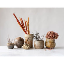 "Load image into Gallery viewer, 7"" Round x 8-3/4""H Stoneware Vase w/ Crimped Top, Reactive Glaze, Ginger Color (Each One Will Vary)"