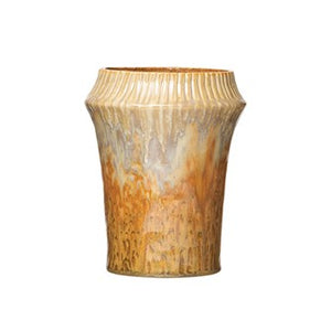 "7"" Round x 8-3/4""H Stoneware Vase w/ Crimped Top, Reactive Glaze, Ginger Color (Each One Will Vary)"