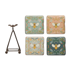 Resin Coasters w/ Bees & Metal Stand