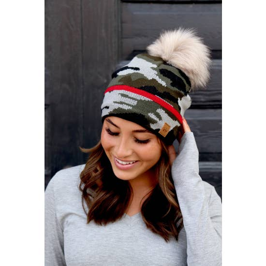 Fleece Lined Camo Hat with Red Stripe & Pom