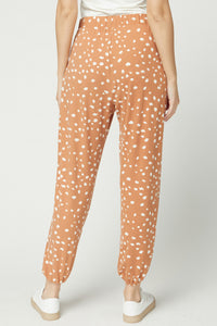Leopard Print High Waisted Joggers - Clay