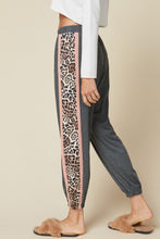 Load image into Gallery viewer, High waisted joggers with Contrast Leopard Print Detail