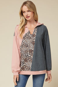 Color Block Hooded Pullover with Leopard Detail