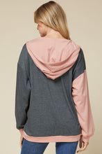 Load image into Gallery viewer, Color Block Hooded Pullover with Leopard Detail