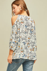 Butterfly open-shoulder Blouse