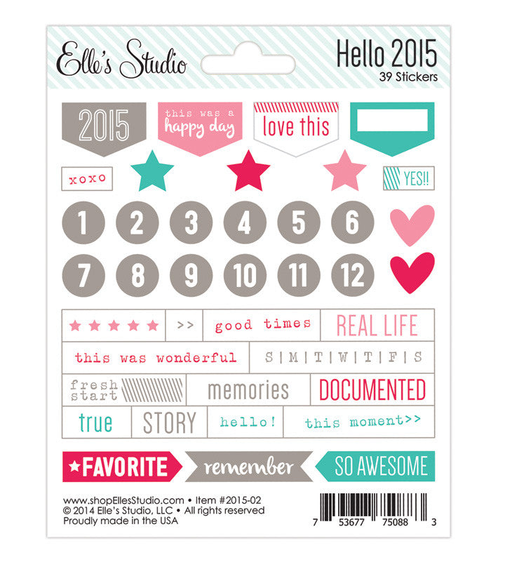 Elle's Stufio Hello 2015 sticker sheet