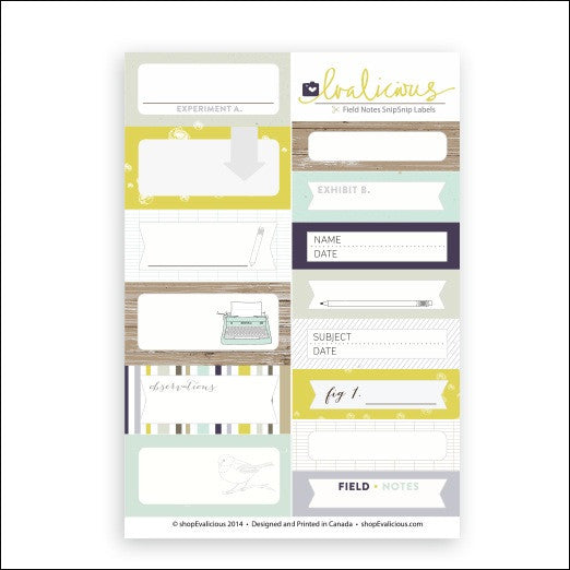 Evalicious Field Notes Labels