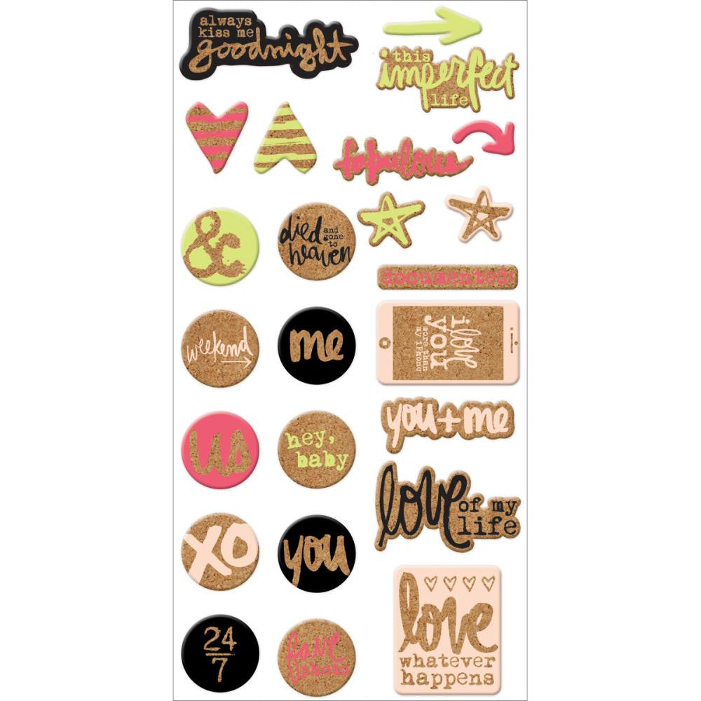 WeRMemory Keepers Love Notes cork stickers