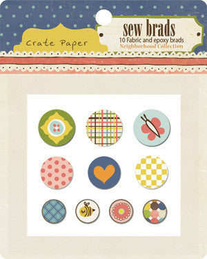 Crate Paper Sew Brads - Neighborhood