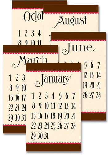 Jenni Bowlin Calendar Cards - General Brown/Red