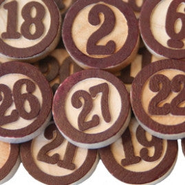 Maya Road Wood Bingo Calendar Numbers - Brown