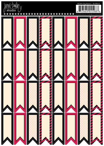 Jenni Bowlin Flag Banner Stickers - Red/Black