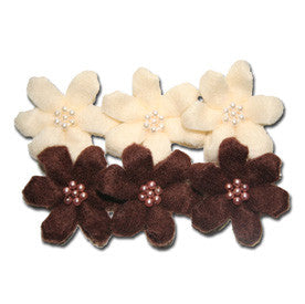 Maya Road Felt Beaded Blossoms - Cream and Brown