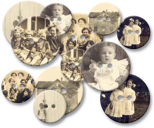 Jenni Bowlin Chipboard Buttons - Old Time Photos