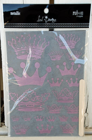 Heidi Swapp Metallic Rub-Ons Crowns - Pink