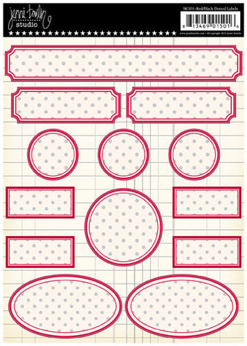Jenni Bowlin Dotted Label Stickers - Red and Black