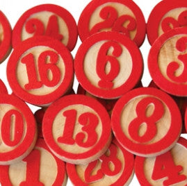 Maya Road Wood Bingo Calendar Numbers - Red