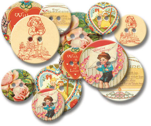 Jenni Bowlin Chipboard Buttons - Vintage Valentines