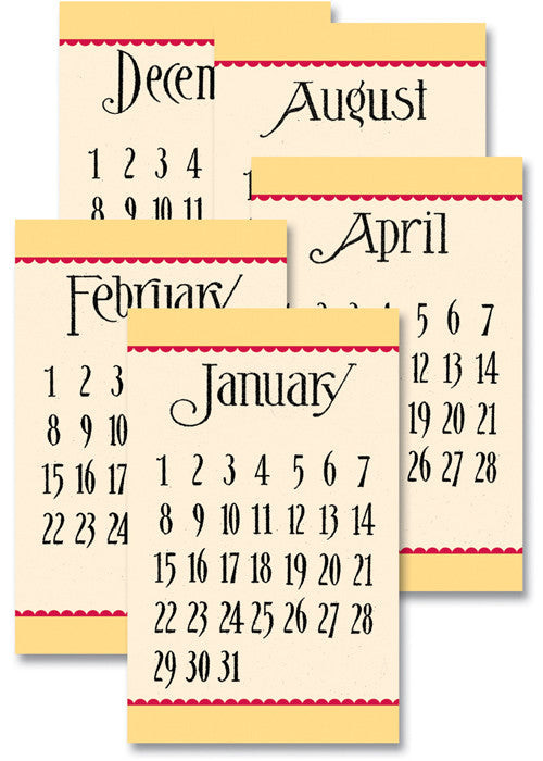 Jenni Bowlin Calendar Cards - General Yellow/Red