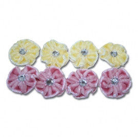 Maya Road Velvet Stitched Blossoms - Yellow & Pink