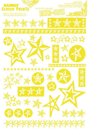 Hambly Stars Rub Ons - Yellow