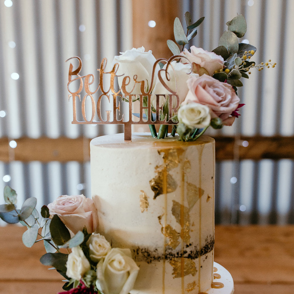 Better Together Rose Gold Foil Cake Topper by Delight in me Designs on The Late Night Baker Three 3 Tiered Wedding Cake
