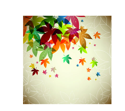 Multi Color Falling Maple Leaves Wall Mural