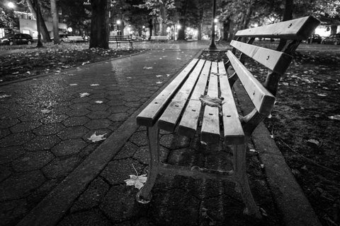 Central Park Bench at Night Canvas