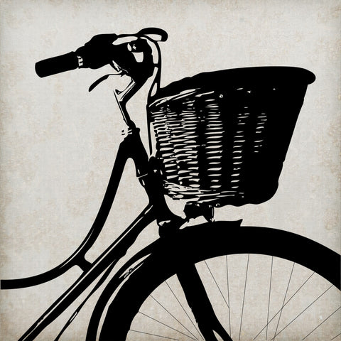 Bike With Basket Silhouette Canvas