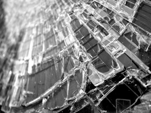 Broken Glass Black and White Wall Mural