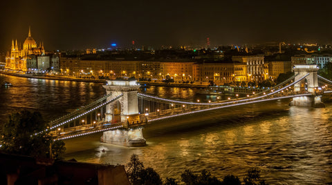 Budapest Chain Bridge At Night Wall Mural