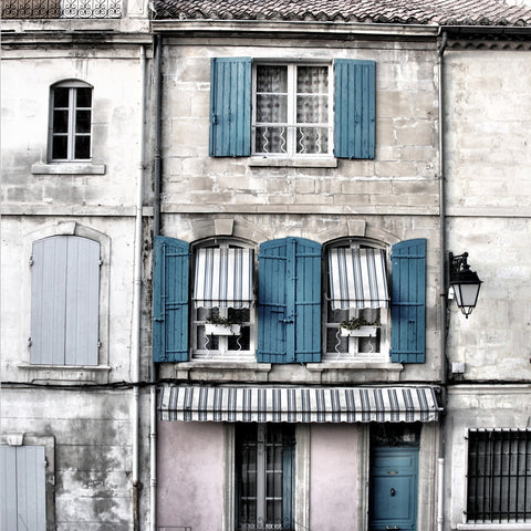 Vintage Building With Blue Shutters Canvas