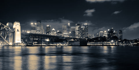 City Skyline at Night Wall Mural