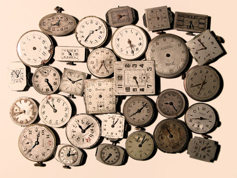 Wall of Vintage Clocks Canvas