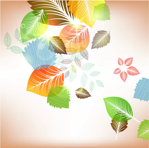 Multi Color Falling Magnolia Leaves Wall Mural