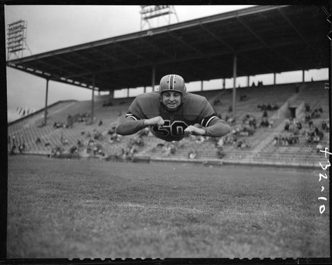 Vintage Football Player Running Diving Canvas
