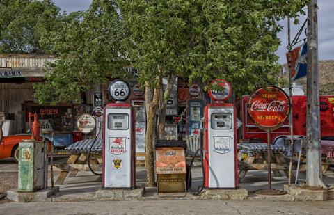 Vintage Gas Station Pumps Wall Mural