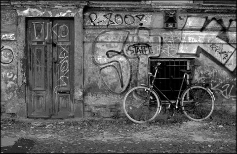 Bicycle on a Wall Black & White Canvas