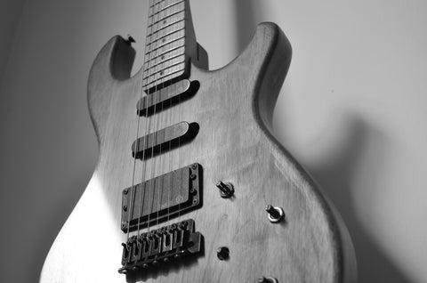 Natural Wood Electric Guitar Black & White Canvas