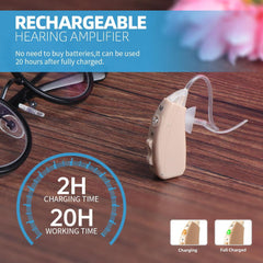 Hearing Amplifier Rechargeable Digital Personal Sound Amplifier Devices PSAP Noise Reduction for Adults and Seniors Fit to Either Ear - JINGHAO