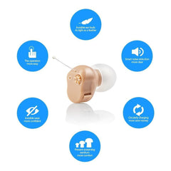 Sound Amplifier Mini Ear Hearing Amplifier Half Penny Sized Noise Reduction and Feedback Cancellation Ear Amplifier for Seniors and Adult with Battery Size 10 - JINGHAO