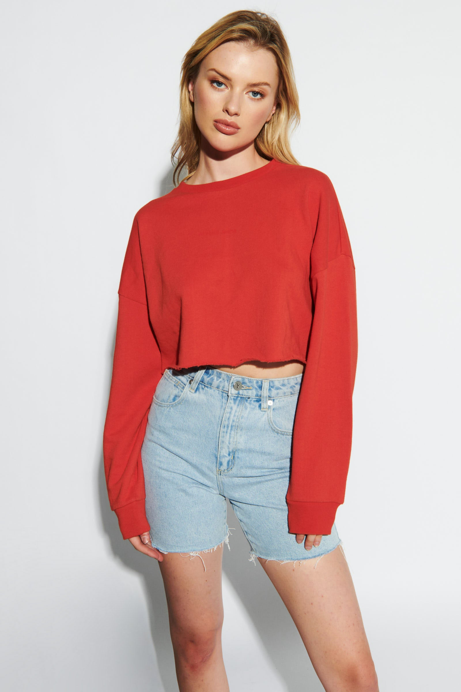 A Cropped Oversized Sweater - Rust Red