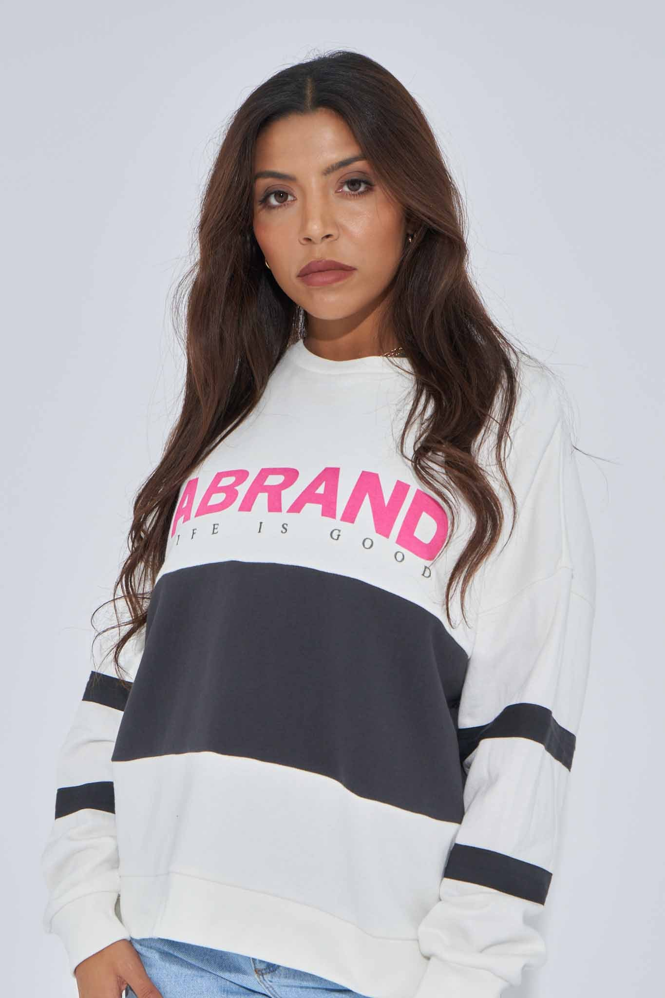 A Oversized Panelled Sweater - White/Black